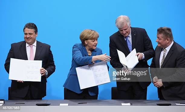Angela Merkel Chancellor and Chairwoman of the German Christian Democrats Horst Seehofer Chairman of the Bavarian Christian Democrats and Sigmar...