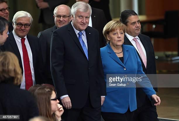Angela Merkel Chancellor and Chairwoman of the German Christian Democrats Horst Seehofer Chairman of the Bavarian Christian Democrats and Sigmar...