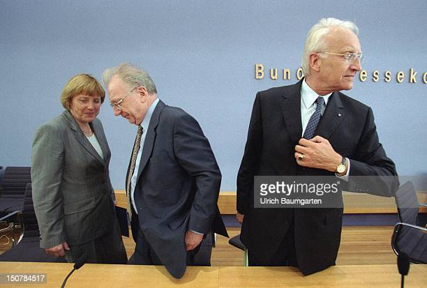 Angela MERKEL federal chairwoman of the CDU DR Lothar SPAETH chairman of the board of management of Jenoptik and DR Edmund STOIBER prime minister of...