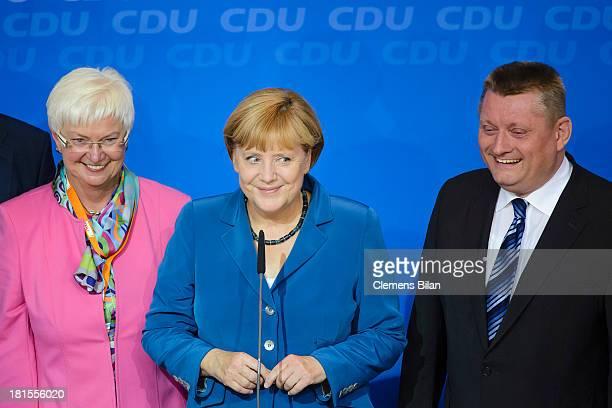 Angela Merkel German Chancellor and Chairwoman of the German Christian Democrats and Gerda Hasselfeldt Bundestag faction leader of the Christian...