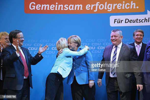 Angela Merkel German Chancellor and Chairwoman of the German Christian Democrats gets a hug from Minister of Work and Social Issues Ursula von der...