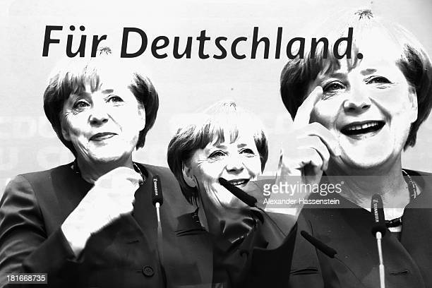 Angela Merkel German Chancellor and Chairwoman of the German Christian Democrats talks to the media after at a meeting of the CDU governing board on...