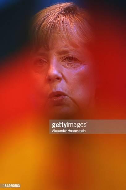 Angela Merkel German Chancellor and Chairwoman of the German Christian Democrats celebrates with supporters at CDU headquarters KonradAdenauerHaus...