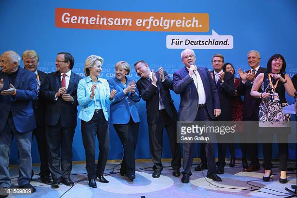 Angela Merkel German Chancellor and Chairwoman of the German Christian Democrats celebrates with other members f her party including CDU General...