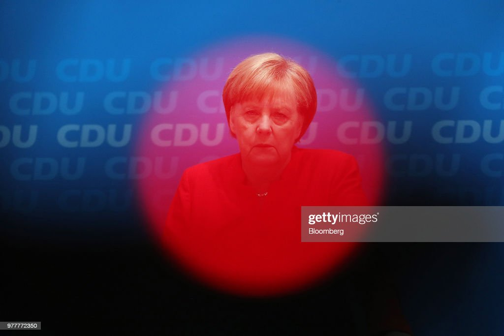 Germany's Chancellor Angela Merkel News Conference As German Coalition Crisis Enters Crunch Time