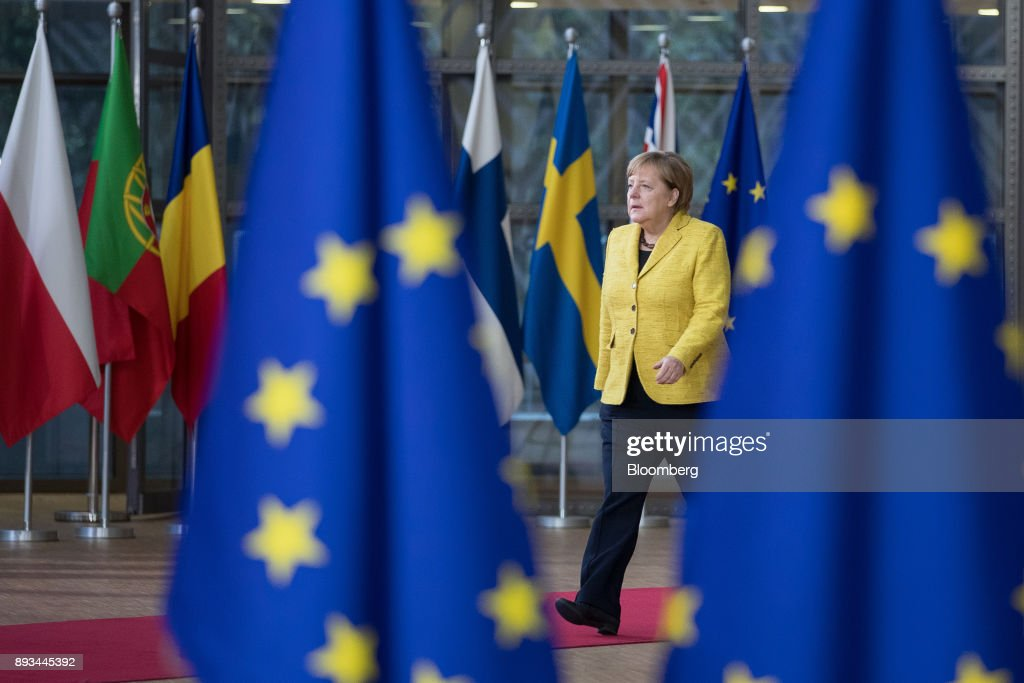 Angela Merkel, Germany's chancellor, arrives at a European Union (EU) leaders summit at the Europa Building in Brussels, Belgium, on Thursday, Dec. 14, 2017. As the European Union prepares to declare that divorce talks with the U.K. have made sufficient progress to move on to negotiations about their future relationship, the blocs leaders, gathering in Brussels for their last summit this year, will shift their attention to some familiar topics. Photographer: Jasper Juinen/Bloomberg via Getty Images