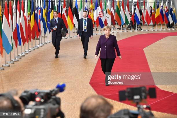 Angela Merkel Germany's chancellor arrives for a European Union leaders summit in Brussels Belgium on Thursday Feb 20 2020 Along with the usual files...
