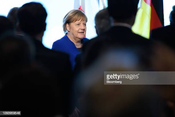 Angela Merkel Germany's chancellor arrives for the GermanJapanese Dialogue Forum in Tokyo Japan on Tuesday Feb 5 2019 The German leader brought with...