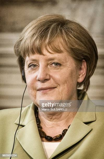 Angela Merkel Germany's chancellor during the press conference after the quadrilateral meeting at Villa Madama on June 22 2012 in Rome in Italy