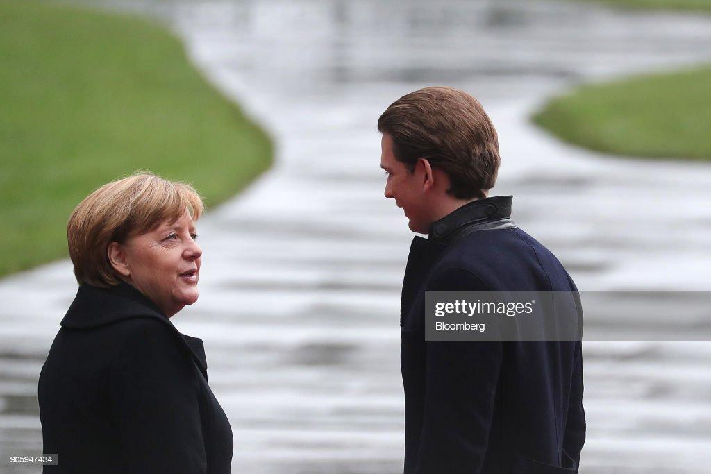 Germany's Chancellor Angela Merkel Meets Austria's Chancellor Sebastian Kurz