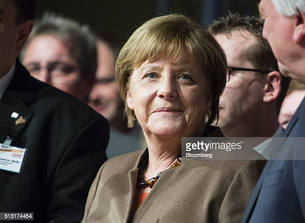 Angela Merkel Germany's chancellor reacts during a Christian Democratic Party local election campaign rally in Volkmarsen Germany on Monday Feb 29...