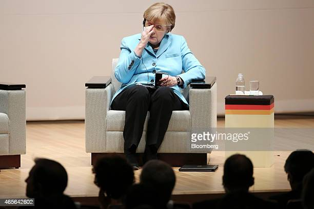 Angela Merkel Germany's Chancellor reacts during a meeting at The Asahi Shimbun Co headquarters in Tokyo Japan on Monday March 9 2015 Russia is...