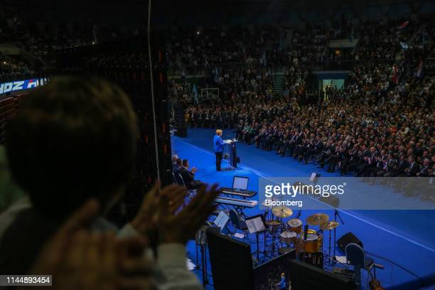 Angela Merkel Germany's chancellor speaks during a European People's Party European election campaign event in Zagreb Croatia on Saturday May 18 2019...