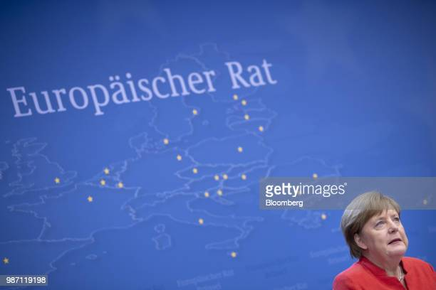 Angela Merkel Germany's chancellor speaks during a news conference at the European Union leaders summit in Brussels Belgium on Friday June 29 2018 EU...