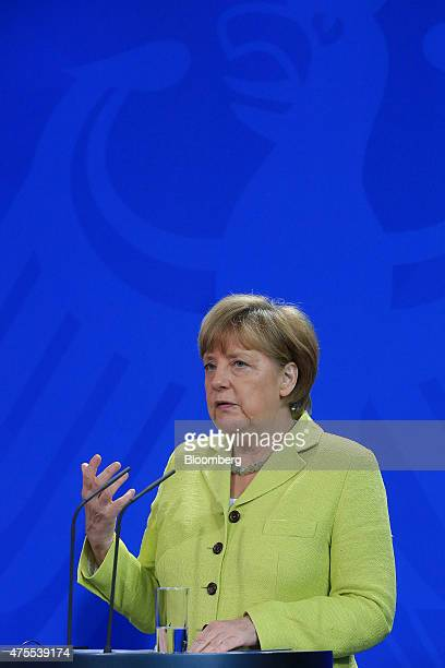 Angela Merkel Germany's chancellor speaks during a news conference in Berlin Germany on Monday June 1 2015 With technical talks yielding no...