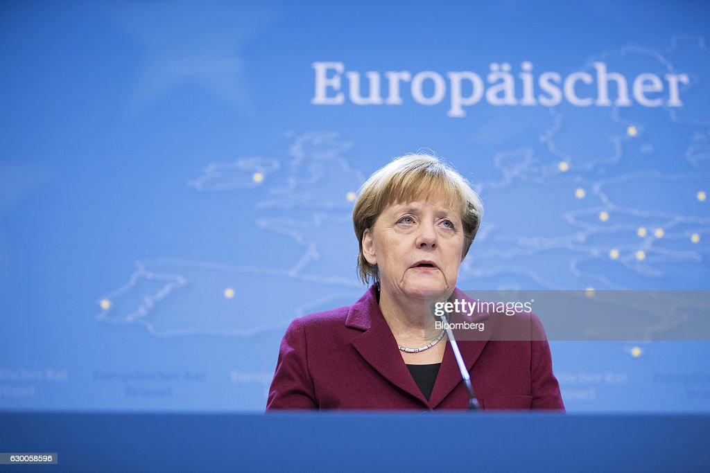 Angela Merkel, Germany's chancellor, speaks during a news conference after meeting of European Union (EU) leaders in Brussels, Belgium, on Thursday, Dec. 15, 2016. A first glimpse of the European Union's potential for disunity on Brexit emerged at the Brussels summit, as EU leaders were caught up in a dispute over how the bloc negotiates with the U.K. as it heads for the door. Photographer: Jasper Juinen/Bloomberg via Getty Images