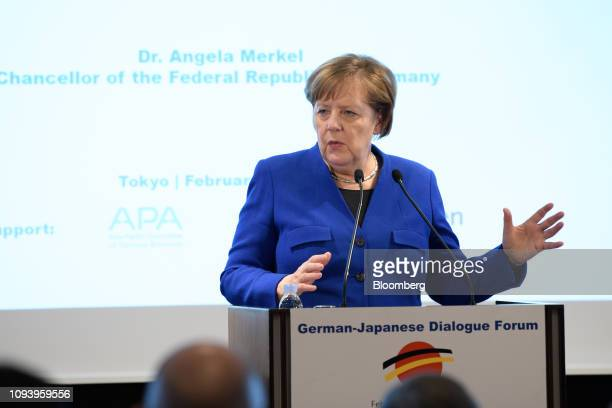 Angela Merkel Germany's chancellor speaks during the GermanJapanese Dialogue Forum in Tokyo Japan on Tuesday Feb 5 2019 The German leader brought...