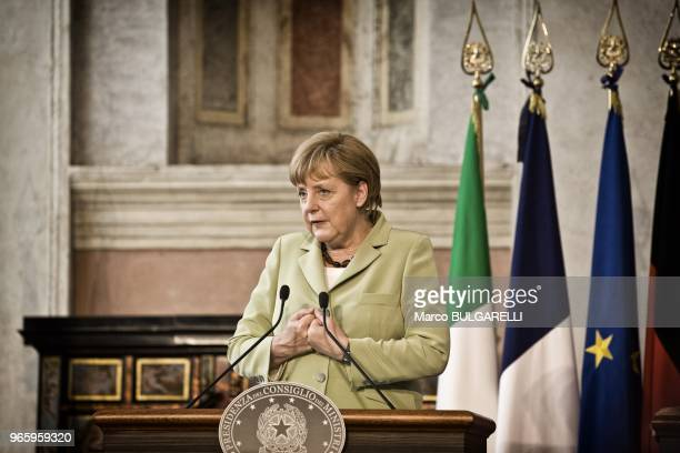 Angela Merkel Germany's chancellor speaks during the press conference after the quadrilateral meeting at Villa Madama on June 22 2012 in Rome in Italy