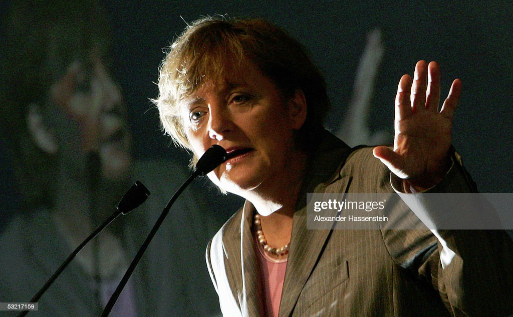 Angela Merkel, head of the opposition Christian Democrats, the CDU, speaks at the Lower Saxony Christian Democratic Party's annual general meeting on July 9, 2005 in Emden, Germany. Merkel is concidered the Christian Democrats top candiadate for the German general elections in September.