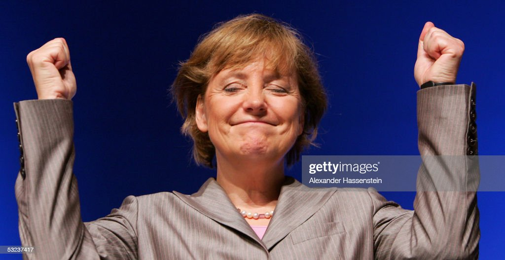 Angela Merkel, head of the opposition Christian Democrats, the CDU, speaks at the Lower Saxony Christian Democratic Party's annual general meeting on July 9, 2005 in Emden, Germany. Merkel is considered the Christian Democrats top candiadate for the German general elections in September.