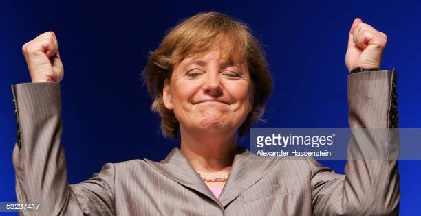 Angela Merkel head of the opposition Christian Democrats the CDU speaks at the Lower Saxony Christian Democratic Party's annual general meeting on...