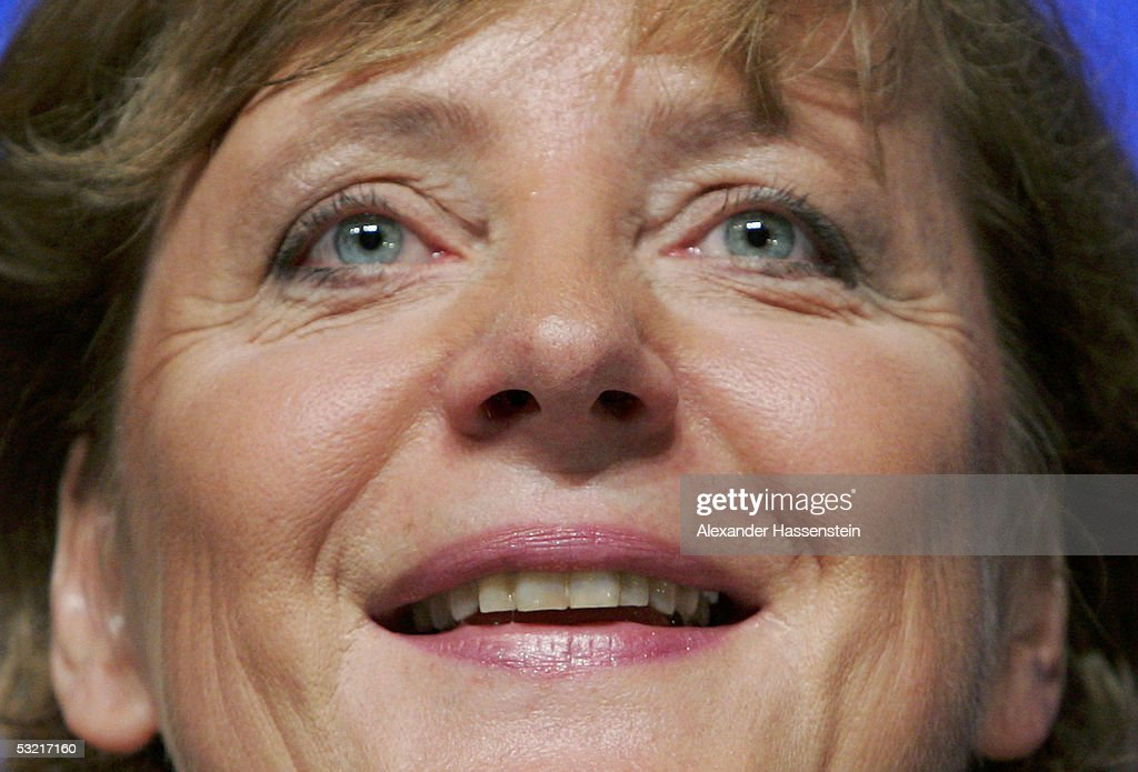 Angela Merkel (L) , head of the opposition Christian Democrats, the CDU, smiles during the Lower Saxony Christian Democratic Party's annual general meeting on July 9, 2005 in Emden, Germany. Merkel is concidered the Christian Democrats top candiadate for the German general elections in September.