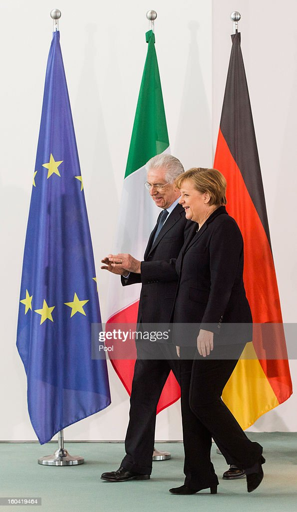 Angela Merkel meets with visiting Italian Prime Minister Mario Monti at the Chancellery on January 31, 2013 in Berlin, Germany. The German Chancellor is meeting with Italian Prime Minister Mario Monti and Spanish Prime Minister Mariano Rajoy in Berlin to hold EU budget talks in preparation for the EU Summit to be held in Brussels next week.