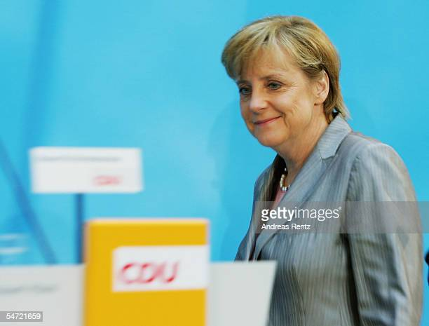 Angela Merkel of the Christian Democratioc Union is seen following her tv debate with Chancellor Gerhard Schroeder September 5 2005 in Berlin Germany...