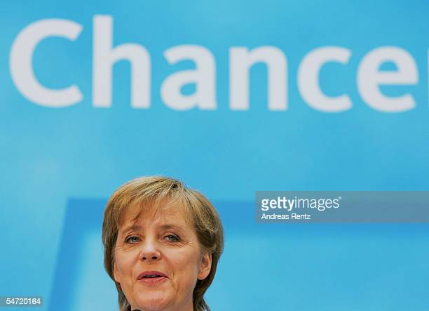 Angela Merkel of the Christian Democratioc Union reacts of her tv debate with Chancellor Gerhard Schroeder September 5 2005 in Berlin Germany...