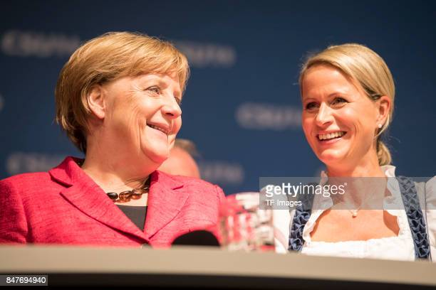 Angela Merkell and Claudia von Brauchitsch looks on during an election campaign stop on September 12 2017 in Augsburg Germany Merkel is seeking a...