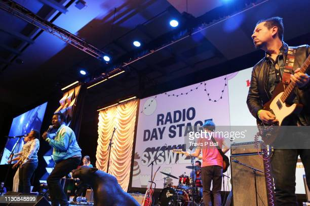 Angela Miller Eric Burton and Adrian Quesada of Black Pumas perform onstage at KUTX / KKXT / Radio Milwaukee during the 2019 SXSW Conference and...