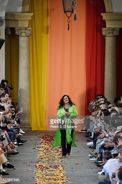 Angela Missoni acknowledges the applause of the public after the Missoni fashion show as part of Milan Men's Fashion Week Spring/Summer 2016 on June...