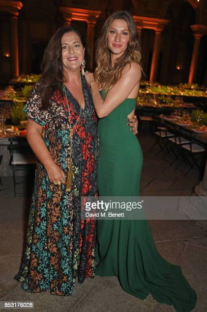 Angela Missoni and Gisele Bundchen attend a private dinner hosted by Livia Firth following the Green Carpet Fashion Awards Italia at Palazzo Marino...