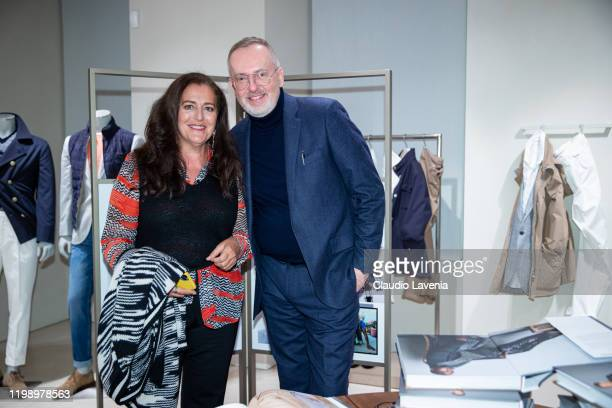 Angela Missoni and Jim Moore are seen at Jim Moore Book Presentation at Brunello Cucinelli Boutique on January 10, 2020 in Milan, Italy.