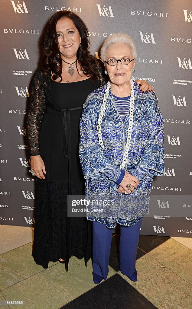 Angela Missoni (L) and Rosita Missoni attend a private dinner celebrating the Victoria and Albert Museum's new exhibition 'The Glamour Of Italian Fashion 1945 - 2014' at Victoria and Albert Museum on April 1, 2014 in London, England.