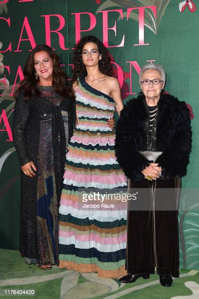 Angela Missoni, Chiara Scelsi and Rosita Missoni attend the Green Carpet Fashion Awards during the Milan Fashion Week Spring/Summer 2020 on September...