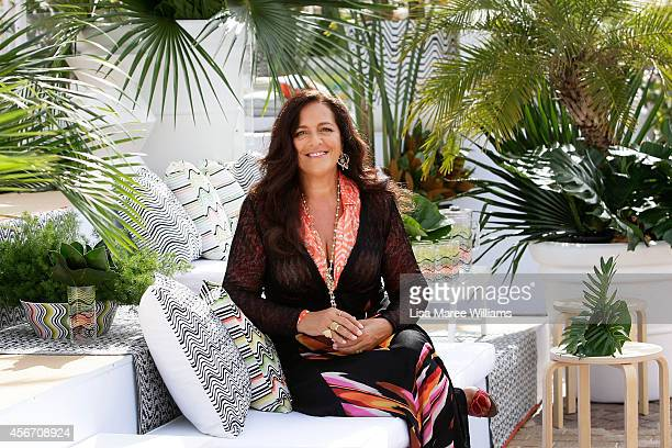 Angela Missoni poses at the launch of a twostorey high 'Missoni for Target' deck chair on the Bondi foreshore on October 6 2014 in Sydney Australia...