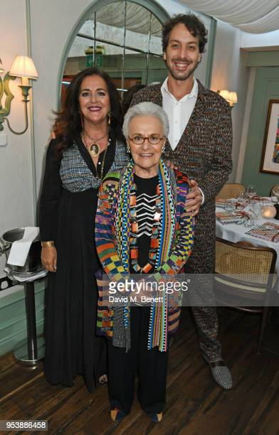 Angela Missoni, Rosita Missoni and Francesco Maccapani Missoni attend a dinner hosted by the Missoni family to launch their new cookbook at Daphne's...