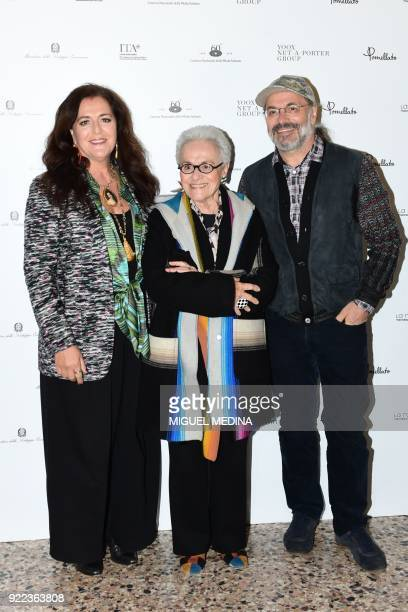 Angela Missoni Rosita Missoni and Luca Missoni pose upon the arrival to the exhibition preview of Italiana Italy Through the Lens of Fashion at...