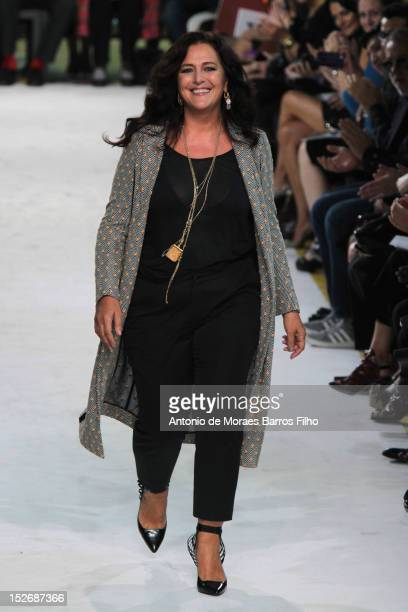 Angela Missoni walks the runway during the Missoni show as a part of Milan Fashion Week Womenswear S/S 2013 on September 23 2012 in Milan Italy