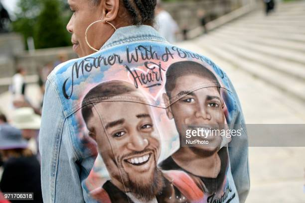 Angela Mojica of NorthEast Philadelphia remembers her slain son Basil Adams who lost its life to gun violence in 2017 The mother is joined by an...