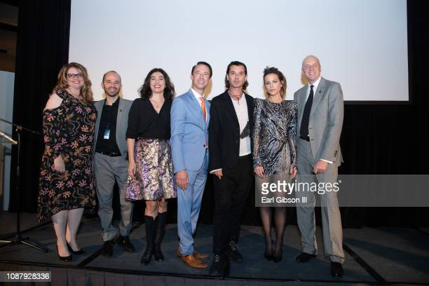 Angela Northrup Fisher Pence Kassandra Voyagis Scott Diament Gavin Rossdale Kate Beckinsale and Kim Martindale pose for a photo onstage at the LA Art...
