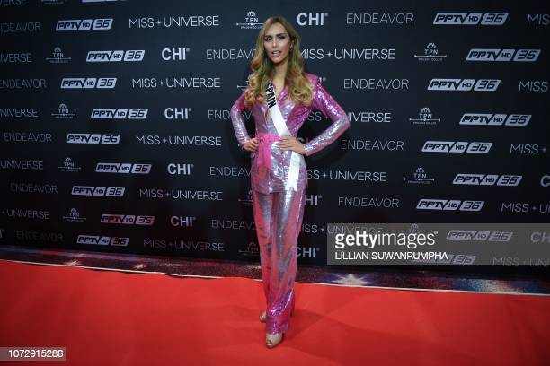 Angela Ponce of Spain poses during an interview with journalists at a media event of 2018 Miss Universe pageant in Bangkok on December 14 2018 Angela...
