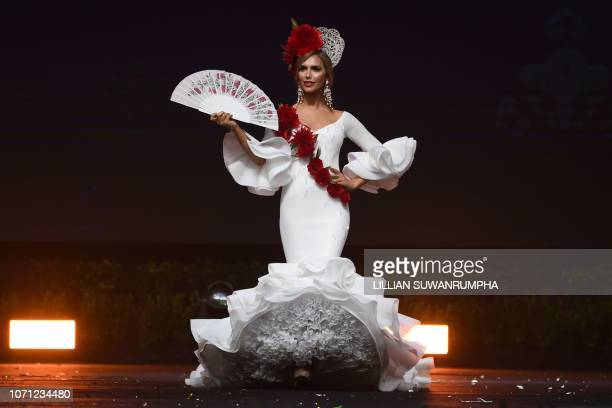 Angela Ponce of Spain poses on stage during the 2018 Miss Universe national costume presentation in Chonburi province on December 10 2018