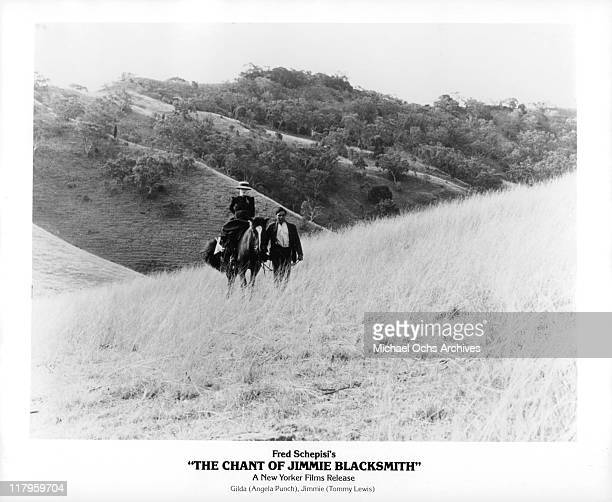 Angela Punch on horse with Tommy Lewis in a scene from the film 'The Chant of Jimmy Blacksmith' 1978