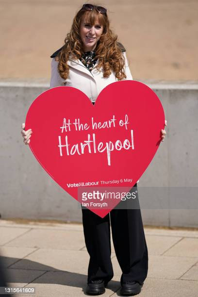 Angela Rayner, Deputy Leader and Chair of the Labour Party poses for party PR pictures during a visit to Seaton Carew seafront on May 01, 2021 in...