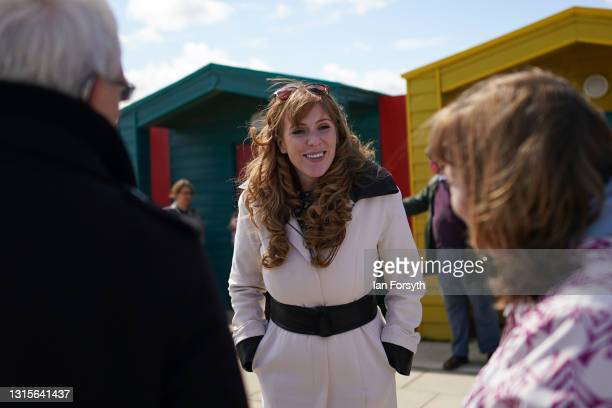 Angela Rayner, Deputy Leader and Chair of the Labour Party speaks with members of the public during a visit to Seaton Carew seafront on May 01, 2021...