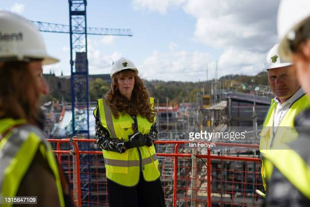 Angela Rayner, Deputy Leader and Chair of the Labour Party visits a building development project on the banks of the River Wear on May 01, 2021 in...