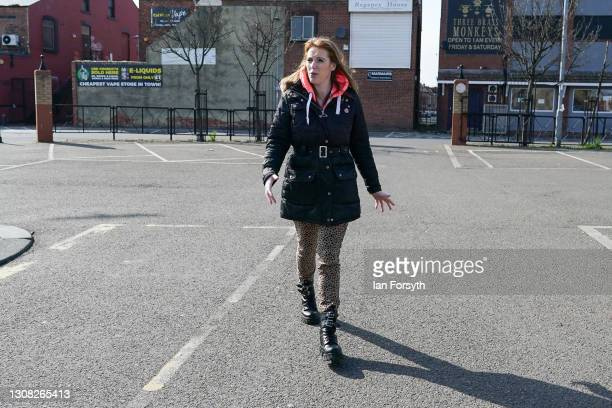 Angela Rayner, Deputy Leader and Chair of the Labour Party walks through town as she goes to visit a covid vaccination centre at Hartlepool Town Hall...