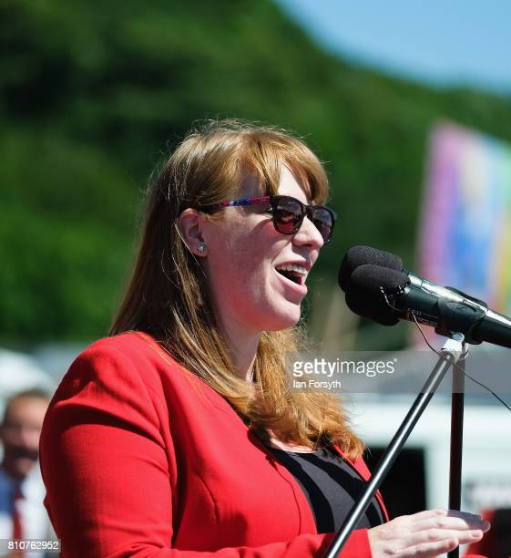 Angela Rayner Shadow Education Secretary addresses the crowd during her speech at the 133rd Durham Miners Gala on July 8 2017 in Durham England Over...